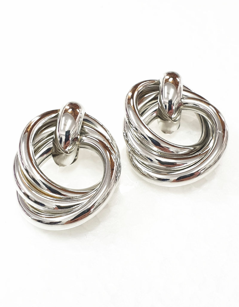 5cf860e46 SILVER TRI-CIRCLES ON STUD 3.5CM LONG